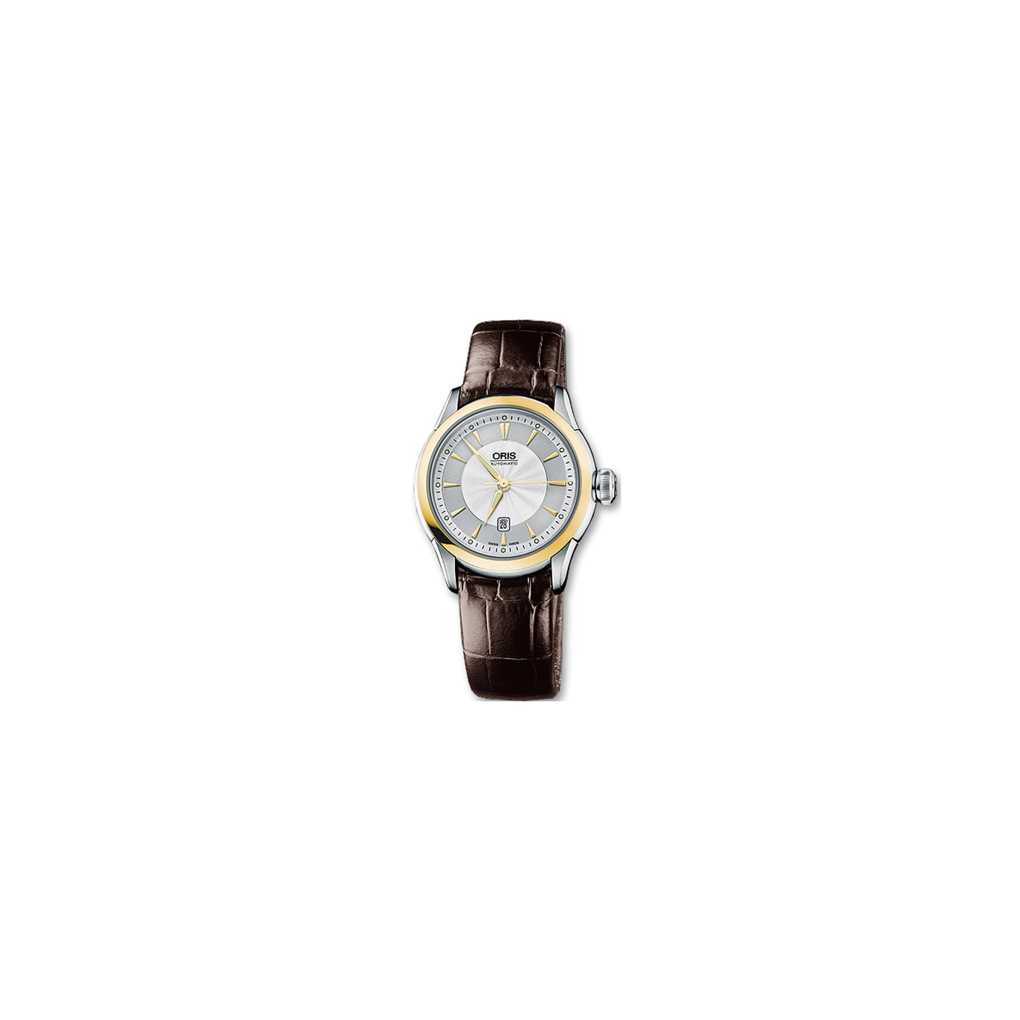 Oris Ladies Brown Artelier Leather Strap Watch 56176044351LS at Tesco Direct