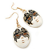 Black&White Enamel 'Theatrical Mask' Drop Earrings In Gold Plating - 4.5cm Length