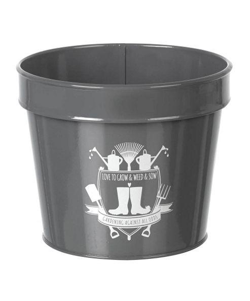 buy parlane grey metal 39 love to grow 39 flower plant pot. Black Bedroom Furniture Sets. Home Design Ideas