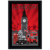 London Black Wooden Framed DecoScape Poster