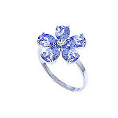 QP Jewellers Diamond & Tanzanite Foliole Ring in 14K White Gold