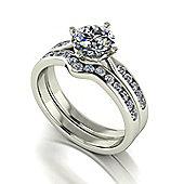 18ct White Gold Moissanite Ring Set