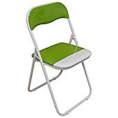 Green and White Padded Folding Chair - Great for, Office, Desk, Poker, Spare