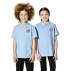 Unisex Embroidered School Polo Shirt years 09 - 10 Blue