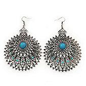 Large Filigree Sky Blue Diamante Chandelier Earrings In Burn Silver Metal - 9.5cm Length/ 6.5cm Diameter