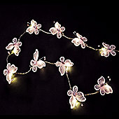 Pack of Two Battery Operated Butterfly LED String Lights in Pink