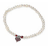 Freshwater Pearl and Ruby Bracelet with Crystal Heart