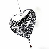 Grey Wire Heart Shaped Hanging Tea Light Holder