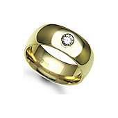 Jewelco London 9ct Yellow Gold 8mm Court Diamond set 10pts Solitaire Wedding / Commitment Ring