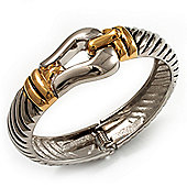 Stately Two Tone Textured 'Buckle' Hinged Bangle Bracelet