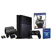 """PS4 Black Console, The Witcher 3, £25 PSN Card and Twin Charging Station"""