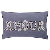 Linea Amour Felt Embroider Cushion In Grey
