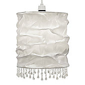 Amelia Beaded Fabric Ceiling Light Shade in White