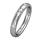 9ct White Gold - Diamond - 3mm Court-Shaped Set 3 Diamonds. Band Commitment / Wedding Ring