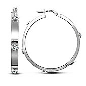 9ct White Gold CZ Set Hoop Earrings - 32.1mm