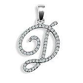 Jewelco London 9ct White Gold Diamond Script Initial Identity Pendant - Letter D