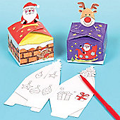 Kids Crafts Christmas Colourin Gift Boxes (12 Pcs)