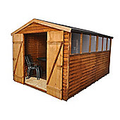 12ft x 8ft (3.70m x 2.60m) Select Overlap Apex Wooden Garden Shed + Double Door