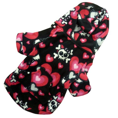 Skull and Hearts Hooded Dog Onesie - Small