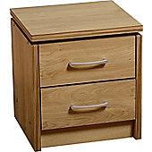Charles 2 Drawer Bedside Chest Oak Finish with Walnut Trim Brushed Metal Handles