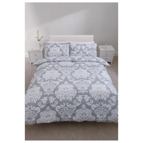 Tesco Regency Print Duvet Cover Set Steel Double