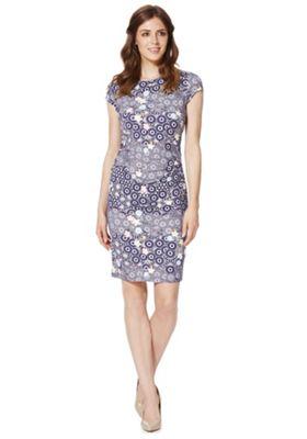 Yumi Multi Floral Print Bodycon Dress, Women's, Size: 14