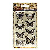 Leopard Butterfly Stickers - Yellow/Black
