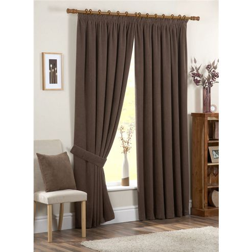 Dreams and Drapes Chenille Spot 3 Pencil Pleat Lined Curtains 46x54 inches (117x137cm) - Chocolate