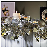 Festive 2M X 100Mm Die Cut Heart Tinsel - Silver / Gold
