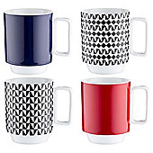 Tesco Harlequin Stacking Mugs, Set of Four