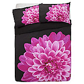 Tesco Watercolour Floral Duvet Cover And Pillowcase Set, Black, King Size