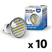 Pack of 10 MiniSun 3W 60 SMD LED GU10 Light Bulbs Neutral to Warm White