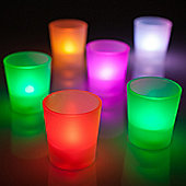Set of 6 Colour Changing LED Frosted Battery Tea Lights