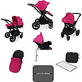 ickle bubba Stomp V3 Black All-in-One Travel System With Isofix Base (Pink)