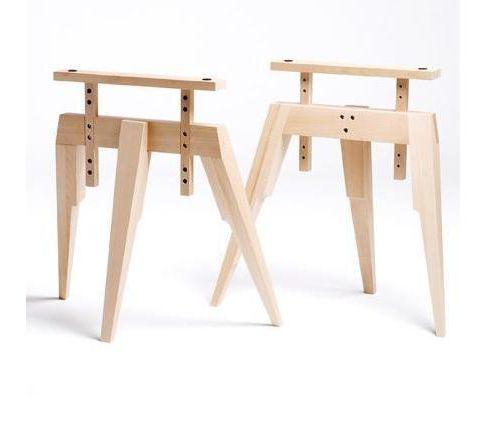 Trestle base table, beech