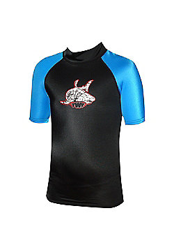 TWF UV Rash Vest Black/Blue Age 6/7