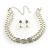 Pearl Style Crystal Floral Choker And Earring Set (Snow White&Clear)