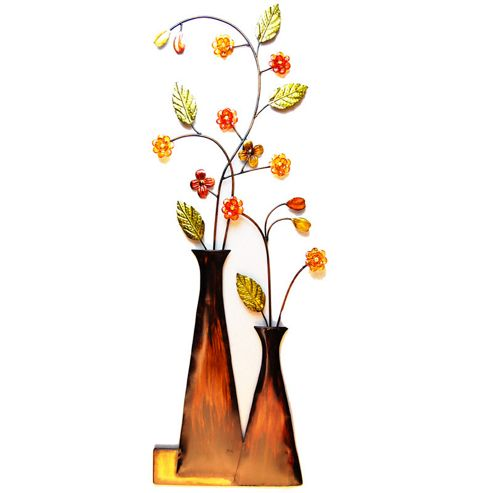 Novus Imports Tall Vase With Coloured Flowers Metal Wall Art