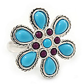 Silver Plated Purple, Turquoise Coloured Acrylic Bead 'Daisy' Ring - 25mm Diameter - Adjustable - Size 7/8