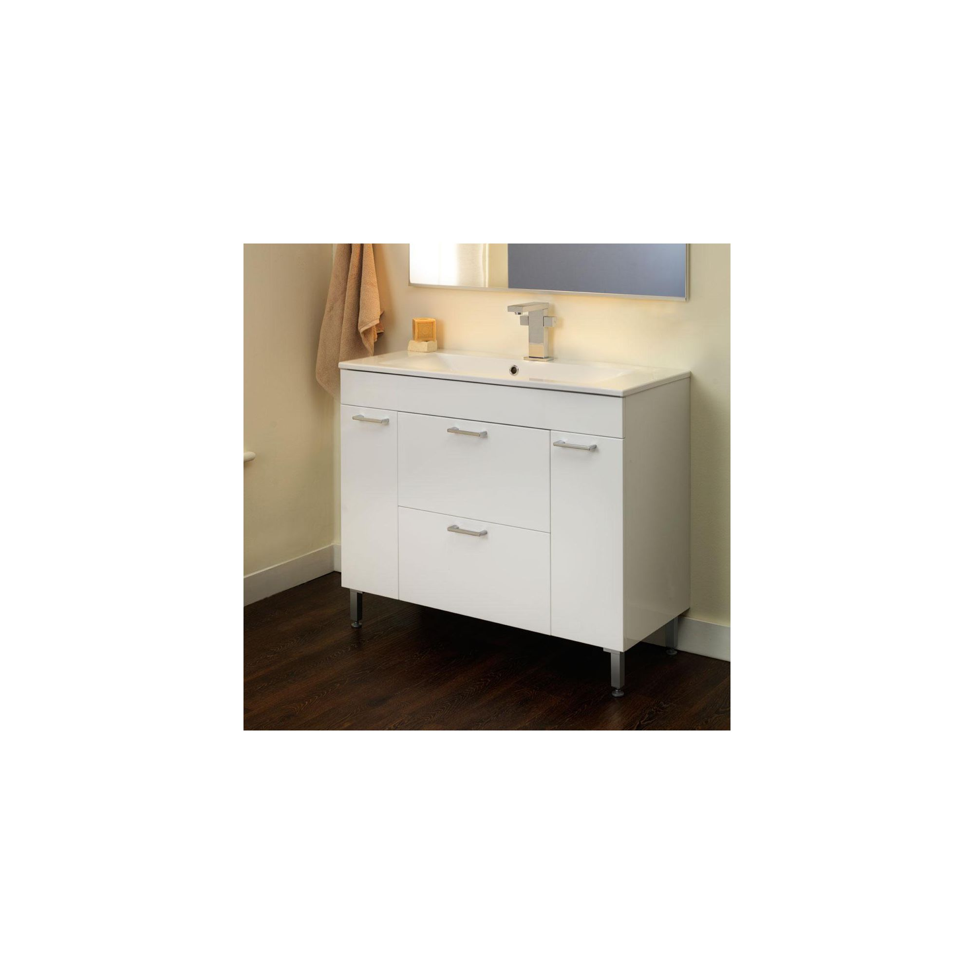 Duchy Trerise White Floor Standing 2 Door 2 Drawer Vanity Unit and Double Bowl Basin - 1000mm Wide x 445mm Deep