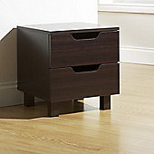 Elements Julia 2 Drawer Bedside Table - Walnut