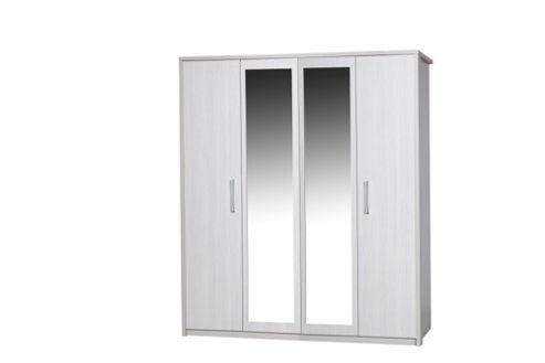 Alto Furniture Avola 4 Door Wardrobe with Mirror - Cream Carcass With White Avola