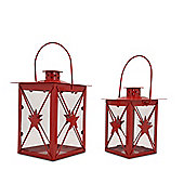 Set Of Two Red Metal & Glass Christmas Lanterns Star Design