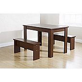 Elements Utah Table and Bench Set - Walnut
