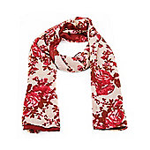 Red Vintage Floral Long Scarf
