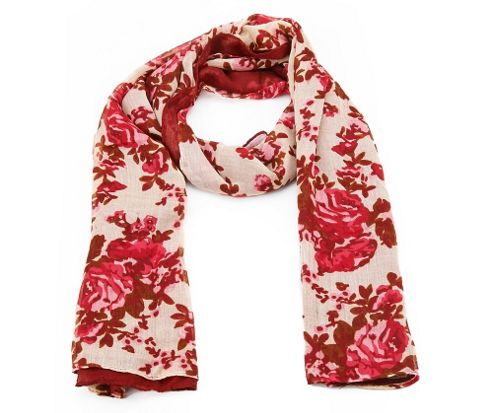 Image of Red Vintage Floral Long Scarf