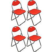 Pack of 4 Red Padded Folding Office, Desk, Poker Chair.