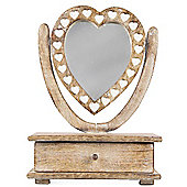 Heart - Wooden Petit Mirror Dressing Table With Drawer - Brown