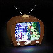 Illuminated Battery Operated Christmas TV Scene with 4 coloured LEDs