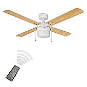 Tempest Remote Control 42 inch Ceiling Fan with Light in White